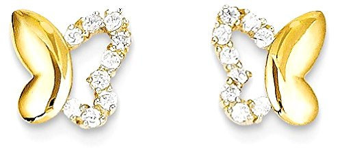 ICE CARATS 14k Yellow Gold Cubic Zirconia Cz Butterfly Baby Post Stud Earrings Animal Fine Jewelry Gift Set For Women Heart by ICE CARATS