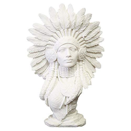 Native American Sculpture,Indians Women Figure Bust Sandstone Statue,Figurines Resin Crafts Home Desktop Decor(20x9x30cm)
