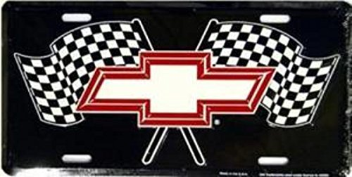 Racing Flags License Plate - Chevy Racing Flags Metal License Plate