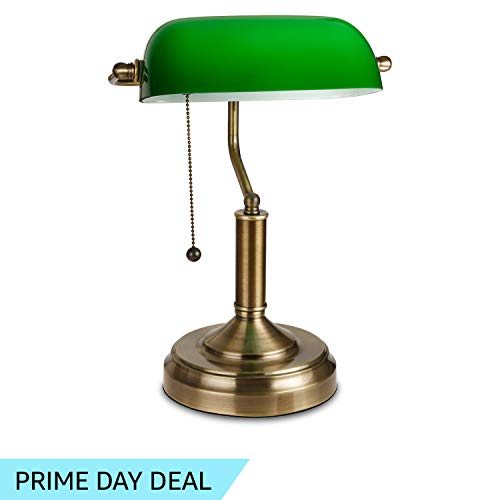 Post Office Antique - TORCHSTAR Traditional Banker's Lamp, Antique Style Emerald Green Glass Desk Light Fixture, Satin Brass Finish, Metal Beaded Pull Cord Switch Attached