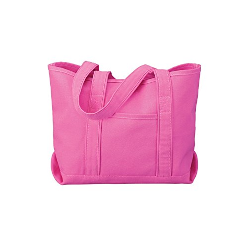 - Canvas Tote Beach Bag - Medium Sized Bag to Carry Beach Gear. Large Open Main Compartment With Hook-and-Loop Closure and Shoulder Straps for Easy Carrying. (Pink)