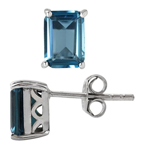 (2.28ct. Genuine London Blue Topaz 925 Sterling Silver Stud/Post Earrings)