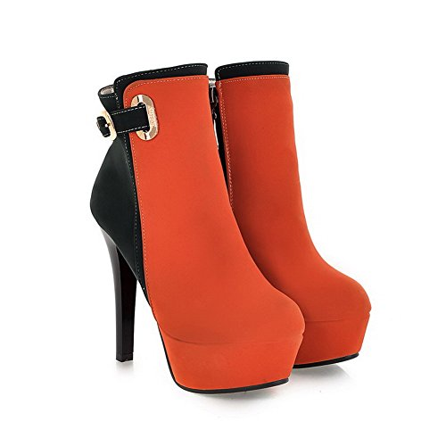 Heels Round top Low Women's Orange High Toe Zipper Closed AmoonyFashion Frosted Boots Rwq0YS7pSx