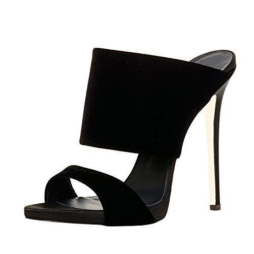 FSJ Women Versatile Open Toe Mule Shoes Feminine Slingback Stiletto Sandals Size 4-15 US Black view cheap price cheap reliable outlet pay with visa znDOB8o