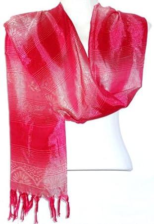 3bc754c2251 Echarpe Foulard Châle Etole Femme Style Pashmina rose fushia  Amazon ...