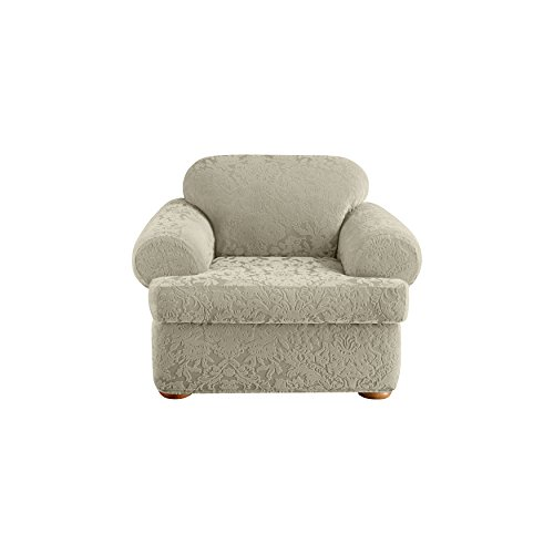 Sure Fit Stretch  Jacquard Damask 2-Piece - Chair Slipcover  - Sage (SF40847)