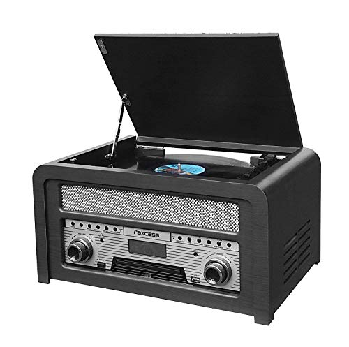 Vinyl Record Player, Bluetooth Vintage Turntable with Belt-Driver Built-in Stereo Speakers, Bluetooth 4.2, 3 Speed Turntable, AM/FM, CD,MP3 Recording to USB &AUX Input Smartphones & Tablets