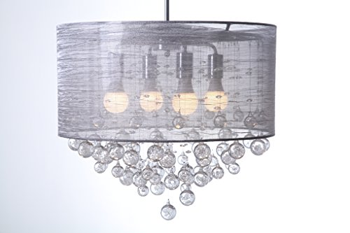 Round Drum Silk Shade 4 Lamp Pendant Crystal Balls Ceiling Light Chandelier Dia 21 X H 20