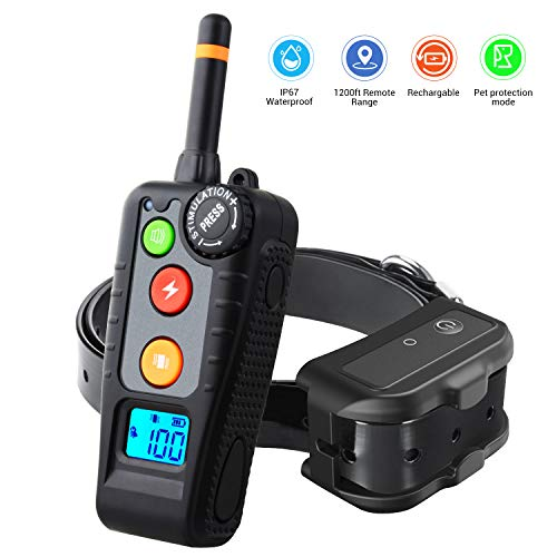 Holdog Rechargeable Dog Training Collar With 3 Training Modes Beep Vibration And Shock Black