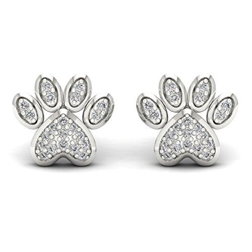 10K White Gold 1/10ct TDW Diamond Dog Paw Print Earrings (I-J, ()