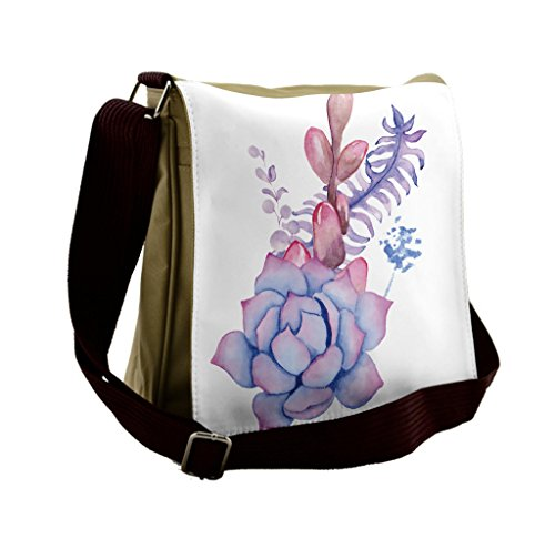 Lunarable Succulent Messenger Bag, Corsage Wedding Bouquet, Unisex Cross-body by Lunarable