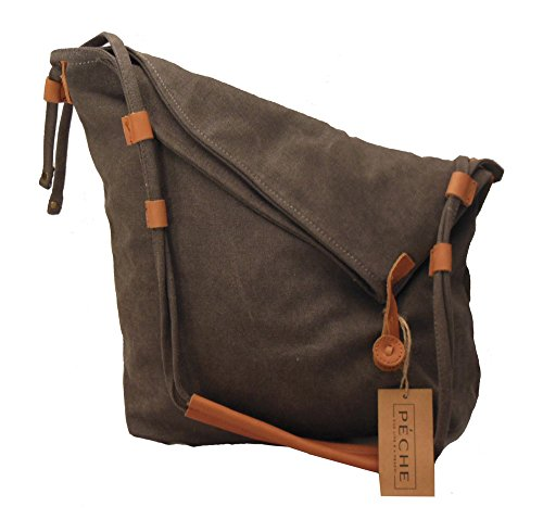 Peche Vintage Canvas and Genuine Leather Crossbody Hand Bag (Smoke Gray)