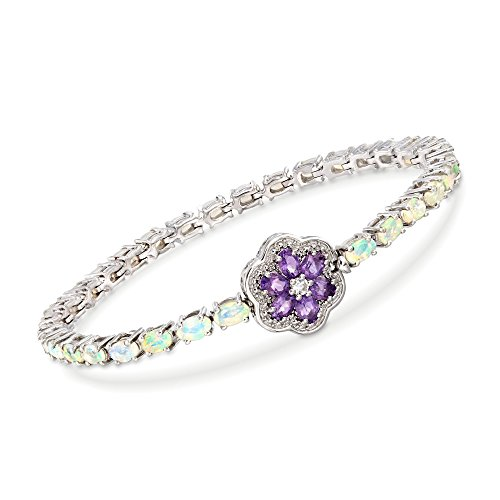 Ross-Simons Opal Bracelet With Amethyst and White Topaz Flower in Sterling Silver -