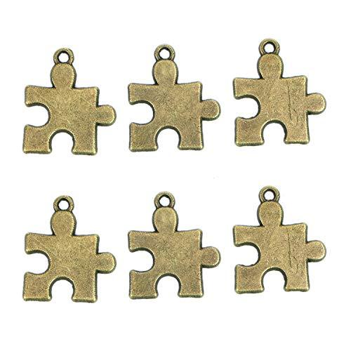 Autism Puzzle Piece Charm - Monrocco 100Pcs Big Puzzle Pieces Charms Pendant Jewelry Findings for Jewelry Making Necklace Bracelet DIY, Antique Bronze