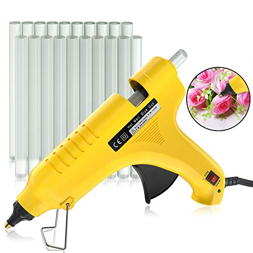 Hot Glue Gun,DYTesa 100W Hot Melt Glue Gun,Rapid Preheating with PTC Heating Technology,20 Pcs Premium Glue Sticks,Copper Nozzle and ON-Off Switch, DIY Arts &Crafts Projects, Quick Repairs,Yellow ()