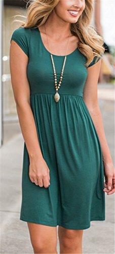 Vestidos Mujer YOGLY Vestidos de Mujer Verano, Vestido de Camiseta,Vestido Verano Moda Colores Lisos Cuello Redondo Vestido Mangas cortas Verde