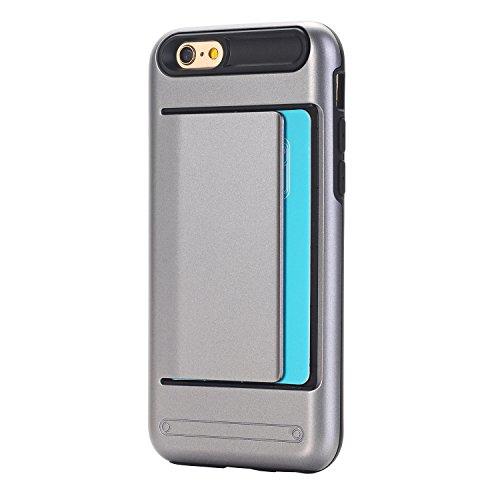 iPhone 6 / 6S (4.7) porta tarjetas de crédito Funda,dura híbrida ranuras para tarjetas para Apple iPhone 6 / 6S (4.7) Zafiro Gris