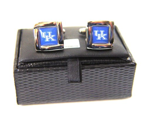 Ncaa Kentuckywildcats Square Cufflinks with Square Shape Engraved Logo Design Gift Box Set