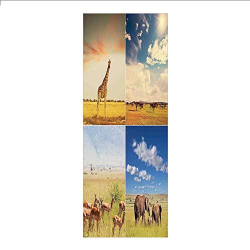 3D Decorative Film Privacy Window Film No Glue,Safari,African Safari Collage Lanscape with Native Animals Grassland Savannahs Mamals Photo,Multicolor,for -
