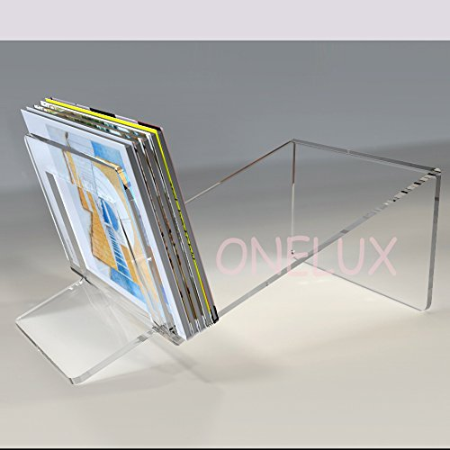 Lucite Acrylic magazine/ book /brochure Storage Organizer Rack - various colors (clear) by ONELUX (Image #1)