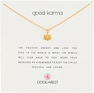 """Dogeared Reminders-  """"Good Karma""""  Gold Dipped  Lotus Charm Necklace, 16"""" w/2"""" Extender"""