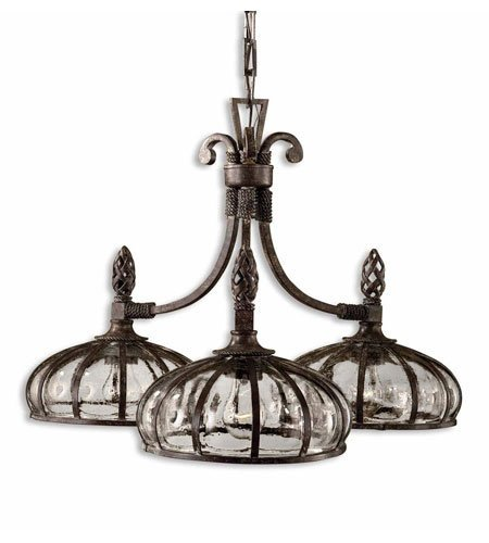 Chandeliers 3 Light with Antique Saddle Finish Metal Glass Material 28 inch 300 Watts