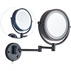 Cavoli Lighted Bathroom Makeup Mirror with LED Light Wall Mount 10x Magnification, Wall Mounted Vanity Mirror, ORB Finish (9-inch)