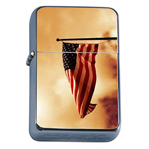 Vintage American Flag Flip Top Oil Lighter D3 Patriotic Freedom American Heroes Veterans by Perfection In Style