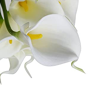 1 X Calla Lily Bridal Wedding Bouquet 10 Head Latex Real Touch Flower Bouquets KC51 White by JASSINS 3