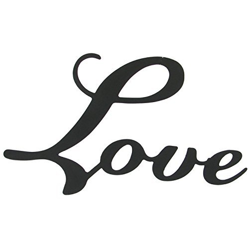 Small Love Black Metal Wall Word (Decor Metal Sign)