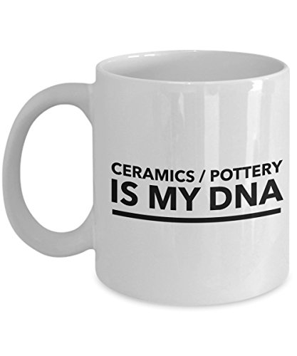 """Rabbit Smile - Gifts for Ceramics/Pottery Inspirational Quotes"""" Ceramics/Pottery Is My Dna"""" Farewell Boss Colleagues or Coworker Leaving Presents Hobby Or Professional Idea - 11Oz White Mug"""