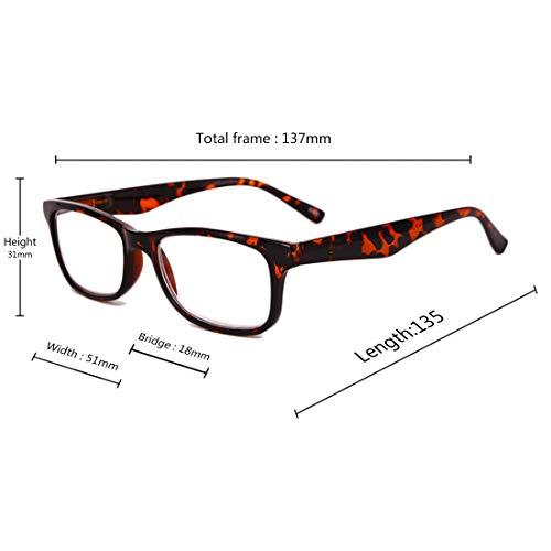 résine 0 lecture Pack Hommes et 0 en 0 Huicai 5 4 rectangulaire 1 2 2 1 5 femmes Léopard 3 5 lunettes cadre plein lentille Couleur de de Lunettes lecture 3 OvwXxFqX