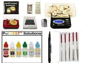 Gold Acid Testing Kit + Electronic Diamond Tester Checker + Digital Test Scale + Counterfeit Detection Pen + White Jewelry Price Tags Labels DigiWeigh/PuriTEST