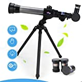 Acecoree Children's Science Telescope, Students Astronomy Inspiration Exploring Science Astronomical Telescope Toy, with 20x/30x/40x Magnifying Glass