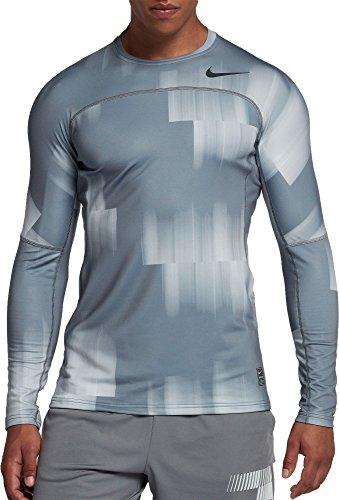 - Nike Men's Pro Hyperwarm Shirt (Cool Grey/Gym Reddkgry, Large)