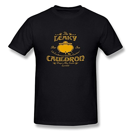 [Hsuail Men's Harry Potter T-Shirt Black US Size L] (Harry Potter The Leaky Cauldron)