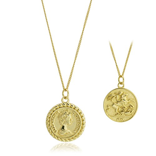 CISHOP Elizabeth Ⅱ Knight Horse Coin Pendant Necklace Sterling Silver Disc Necklace