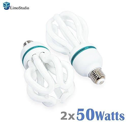 (LimoStudio [2-Pack] 50W Full Spectrum Light Bulb Photography Photo CFL 5500K, Daylight Balanced Pure White Light, AGG1707)