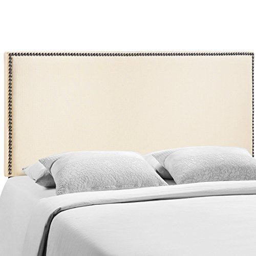 Modway Region Linen Fabric Upholstered Queen Headboard in Ivory with Nailhead Trim (Cheap Headboards Sale Upholstered)