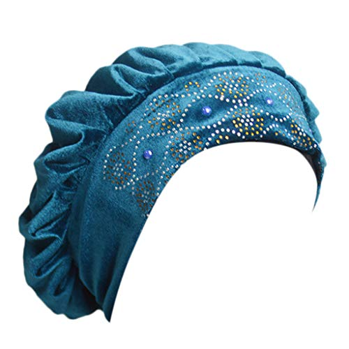 OSTELY Women Mesh Long Tube Turban Caps Muslim Indian Wrap Head Hat Beanies Head Wraps Scarf Cancer Chemo Cap(Light Blue)