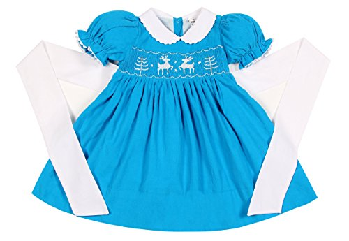 Babeeni Dresses For Kids Girls Featured With Short-Sleeve and Hand-Smocked X-Mas Patterns Of Reindeer and Pine Tree Around The Bodice In Aqua Colour (6M)