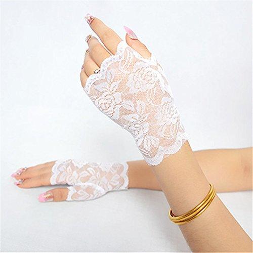 Smartrich - Guantes de encaje sin dedos, elegantes, sexy, para noche, fiesta, boda blanco blanco 13.5*8.5cm