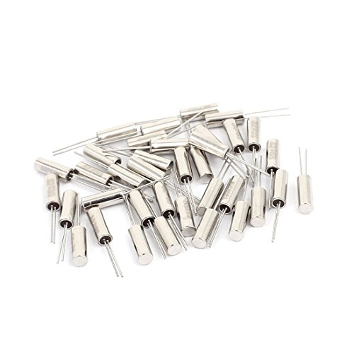 Aexit 35 Pcs 3mm x 8mm 32.768k Hz Cylindrical Quartz Crystal Oscillator Silver Tone by Aexit