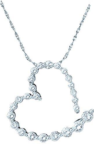 - 14K White Gold Diamond Graduated Heart Journey Necklace Pendant 1.00 Ctw.