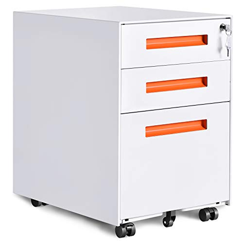 Merax Metal Solid Mobile Storage 3 Drawer File Cabinet with Keys, Fully Assembled Except Casters (White and Orange)