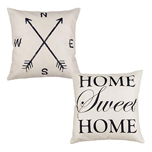 LONGTEAM Cotton Linen Square Decorative Throw Pillow Case Cushion Cover Home Sweet Home 18 x 18 for Couch Sofa Bed,Set of 2 (Sweet Home)