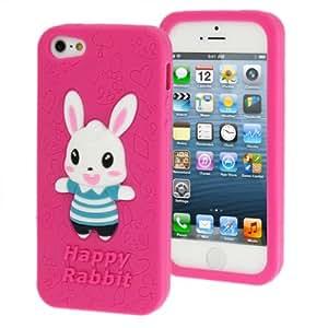 Happy 3D Rabbit Style Silicon Protective Cover Case Funda para iPhone 5 5S (& Magentz)