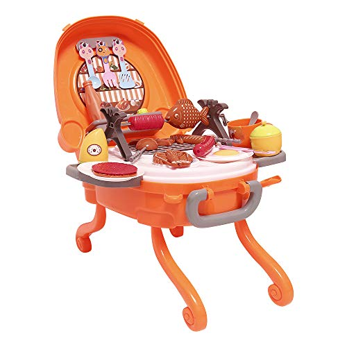 Kimiangel BBQ Grill Toy Pretend Play BBQ Food Toy with Sound and Light for Boys and Girls, 39 PCS