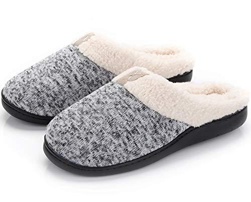 Women's Memory Foam Clog Slippers Comfort Slip On House Shoes Wool-Like Plush Fleece Lined w/Indoor Outdoor Anti Slip Sole