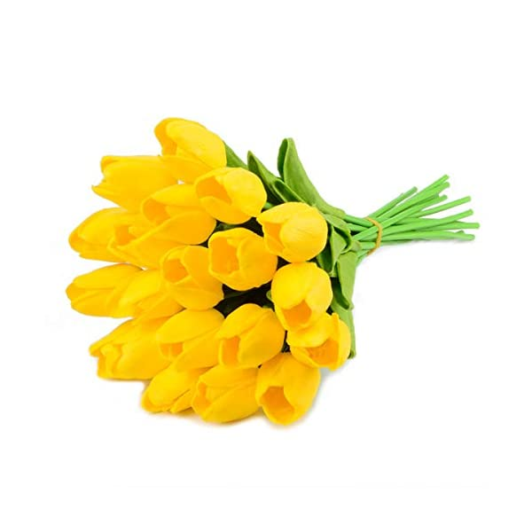 HoveBeaty Artificial Tulips Bridal Wedding Festival Decor Bouquet Real Touch PU Flower Bouquet Pack of 20 (Yellow)